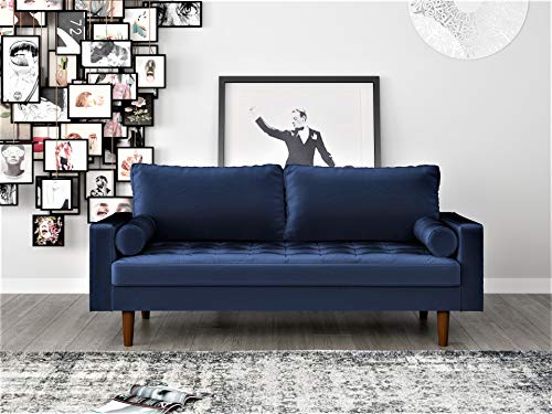 Container Furniture Direct S5455 Mid Century Modern Velvet Upholstered Tufted Living Room Sofa, 69.68', Space Blue