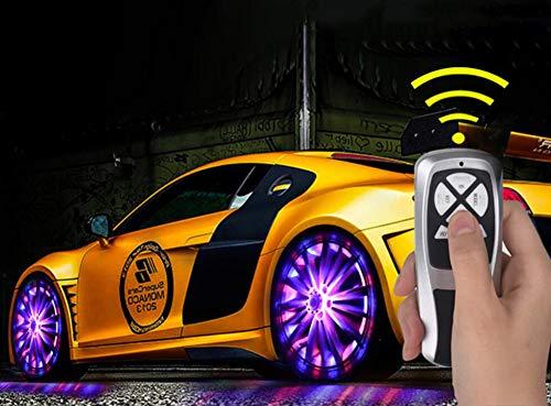 Ruota Auto Ruota LED luci,2 Colori Solar Power Flash RGB Flash Car Wheel Coperchio valvola della Gomma, con Telecomando (4 Pezzi),Redblue