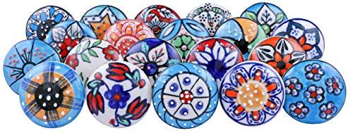 20pomelli in ceramica, in stile vintage e con motivi floreali misti; ideali per porte, armadi, cassetti e credenze