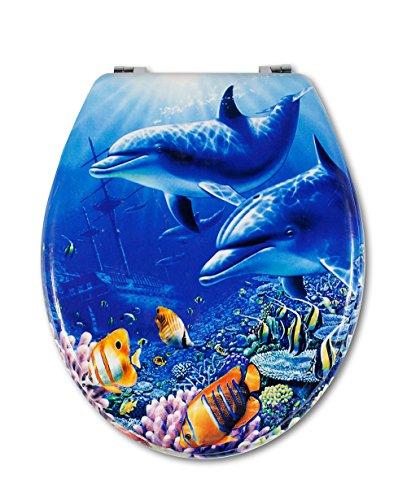 Vetrineinrete® Copriwater universale in legno MDF serigrafato tavoletta da bagno wc con stampa cerniere in acciaio inox resistente 52960A (Delfini) G20