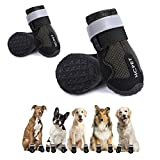 Hcpet Dog Boots Paw Protectors, Rubber Anti-Slip Dog Shoes with Reflective Straps for Small Medium Large Dog, Waterproof Puppy Booties with Zipper 4Ps