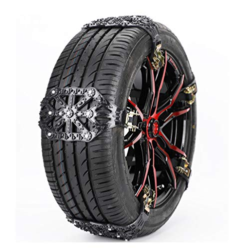 IQQI Universal Snow Chains, Portable Anti-Skid Emergency Traction Car Snow Tyre Chains Universal for Tyres Width 165-285Mm,Black,10 Pcs