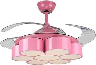 Huston Fan 42 Inch Modern Pink Mute Child Flowers Ceiling Fan Lights Kids  Room Bedroom Kindergarten