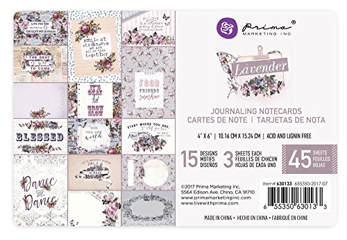 Prima Marketing Lavender-4x6 Journaling Cards