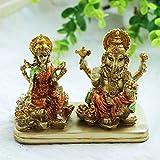 Hindu Lord Ganesha Lakshmi Statue – Indian God Laxmi Ganesh Murti Item Home Temple Puja Pooja Idol Diwali Gift - India Tabletop Desk Ganpati Sculptures