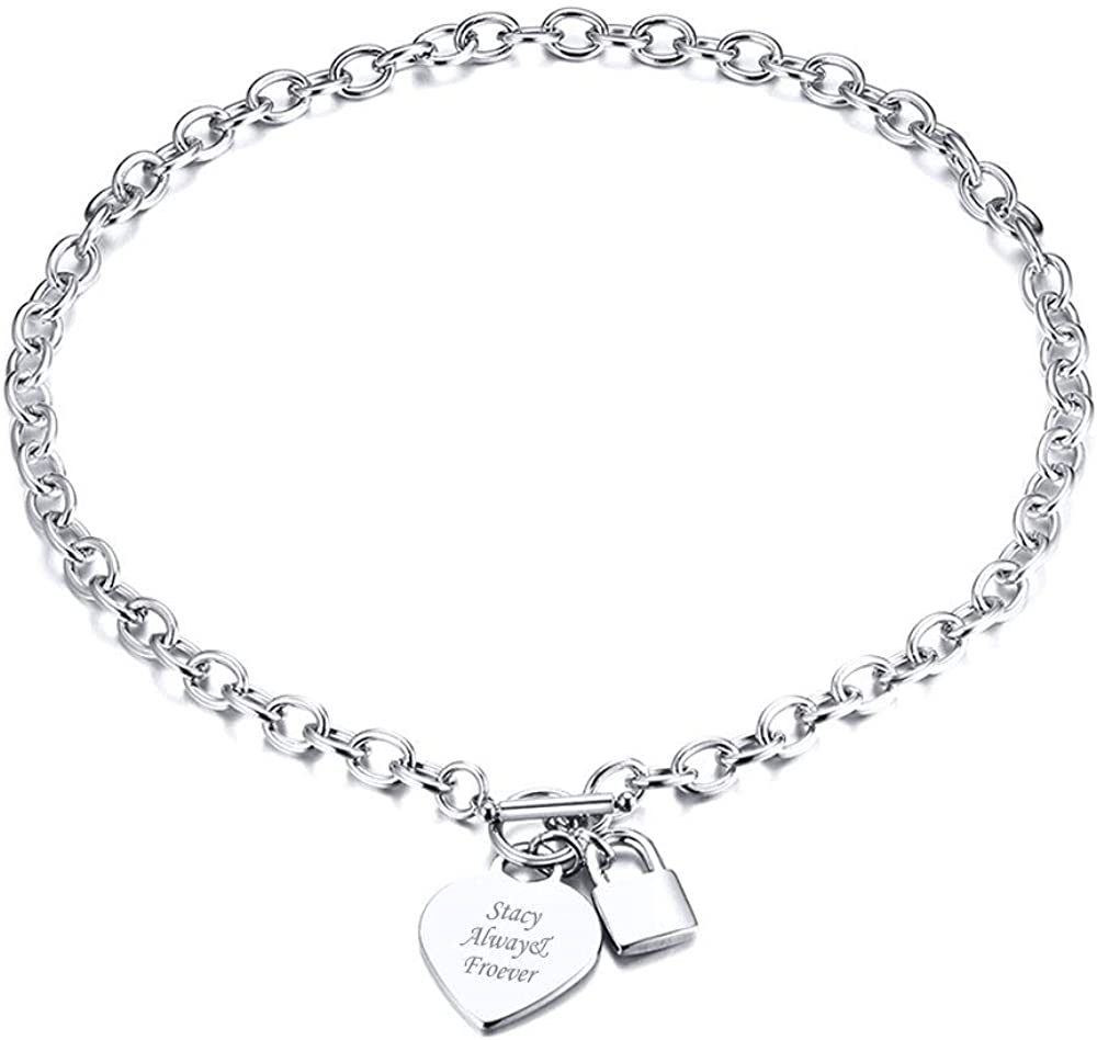 VNOX Personalized Initial Name Stainless Steel safety Cable Trendy Ranking TOP1 Chai