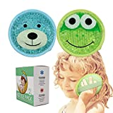 Large Kids Boo Boo Ice Pack,2 Packs Cute Heat Cold Gel Beads Packs for Kid's Fever,Pain Relief,Wisdom Teeth,First Aid and Neck, Head, Arms, Legs Injuries