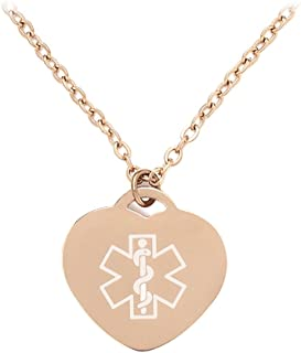 Free Engraving Heart-Shaped Medical ID Alert Necklaces Pendant for Women