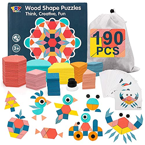 TOY Life 190Pcs Wooden Pattern Blocks for Kids Shape Puzzle