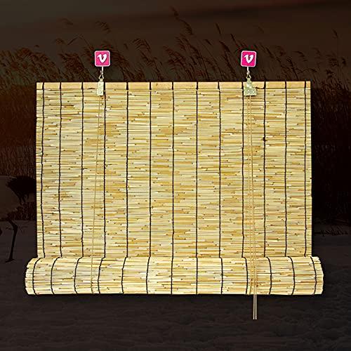 SAMUR Estor Enrollable de Bambú Natural Cortina Opaca, Transpirable/Impermeable, para Interiores Cortinas Privacidad Protección, Personalizable