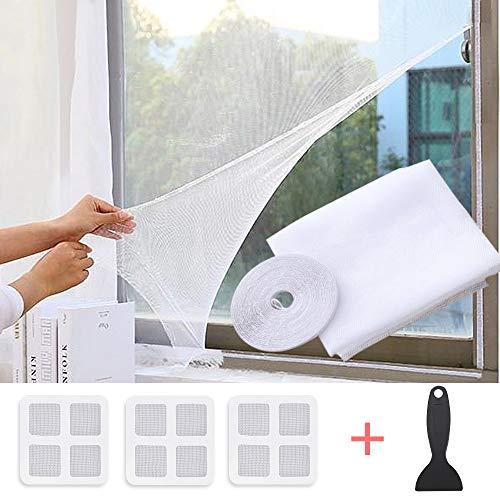 Faburo Fliegengitter für Fenster Fliegennetz Insektenschutz Fenster Selbstklebend mit Klettband Widerhaken 130x150cm