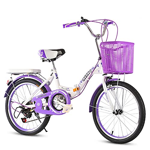 MIAOYO Velocidad Variable Bicicleta Infantil,Juventud Plegable Bicicleta Urbana con Asiento Ajustable Manillar,Mini Bicicleta Plegable para Los Niños Chicas,Púrpura,24