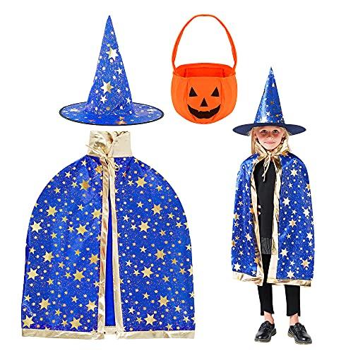 Wishstar Costume da Mago di Halloween per Bambini, Mantello da Strega Mantello da Stella con Cappello, Sacchetto di Caramelle Zucca, per Bambini Festa Cosplay di Halloween (Magic Blu)