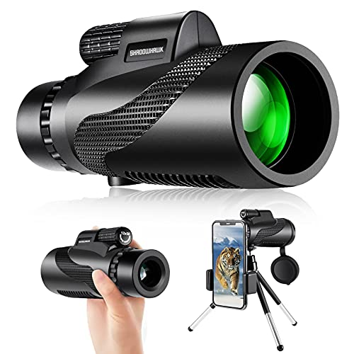 Monocular Telescope For Adults, Shadowhawk 12x50 BAK4 Prism High Power Monocular Telescope For Adults Kids Bird Watching Monocular Telescope For Mobile Phone Waterproof Monoscope For Camping Hiking