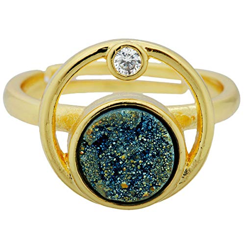 Nupuyai Titanium Coated Druzy Stone Rings for Women and Men, Adjustable Crystal Quartz...