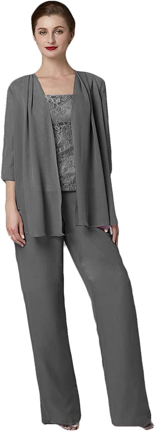 HYC Women's 3 Pieces Chiffon Pant Sets with Jacket for Wedding Mother of The Bride Pant Suits
