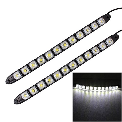 Konglz 2 stuks 6 W 12 LED SMD 5050 flexibele slang LED dagrijverlichting voor auto, 12 V DC