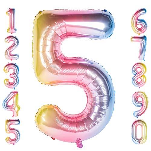 CHANGZHONG 40 Zoll 0 to 9 in Regenbogen Nummer Folienballon Helium Zahlenballon Luftballon Riesenzahl Party Hochzeit Kindergeburtstag Geburtstag (Number 5)