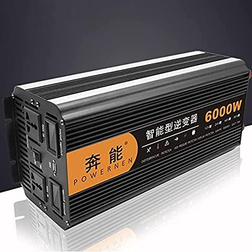 XYEJL Inversor Onda Sinusoidal Pura 3200W 4000W 5000W 6000W 8000W 9000W 12000W Inversor De Corriente DC 12V 24V A AC 220V 230V Transformador Voltaje,con Toma CA y Carga USB,6000W-12V