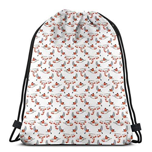 XCNGG Bolsas con cordón Bolsa deportiva para gimnasia de viaje, pájaros camachuelo regordetes volando y posándose en ramas de serbal