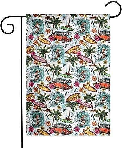 Banderas De Jardín De Decoración Al Aire Libre De Patio De Verano De Doble Cara, Bandera De Jardín De Surf Hawaiana 12x18 Pulgadas