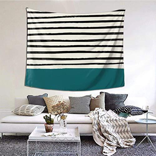 Tapiz para colgar en la pared, diseño de rayas turquesas oscuras, 156 x 150 cm, estilo bohemio, para colgar en el dormitorio, sala de estar, decoración del hogar