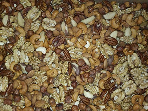 Mélange de Fruits secs 1 Kg (Amandes,Noisettes,Noix de Cajou,Noix de Pecan,Noix du Brésil et Cerneaux de Noix ) , sac refermabe
