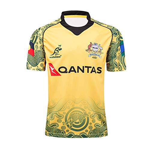 DIWEI Herren Rugby-Trikot, 2017 Australien Wallabies Gedenk-Rugby-Trikot, schnelltrocknendes Training, kurzärmeliges T-Shirt, Sport, lässiges Polo-Top (S-XXXL) Gr. XL, blau