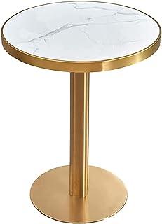 YUDE Table de Bar Ronde Moderne en marbre, Table de Cocktail à Hauteur de comptoir avec Cadre en métal pour la décoration ...