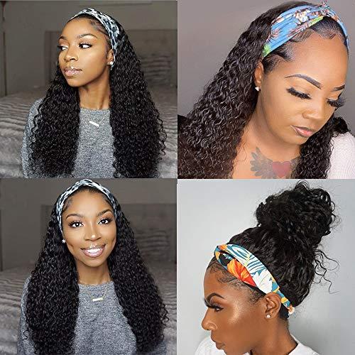Deep Curly Wave Band Wig Human Hair Quick Wigs Glueless Headband Human Hair Wig for Black Women Scarf Band Wigs Human Hair 10A Brizilian Virgin Hair Headband Human Hair Wig