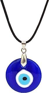 AILUOR Collar de Mal de Ojo, ojos azules, collar con colgante de amuleto, cadena de cuerda de cuero de vidrio, protección ...