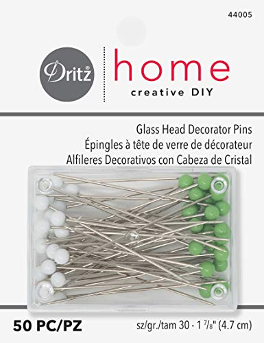Dritz Home 44005 Decorator's Glass Head Pins, 1-7/8-Inch (50-Piece)