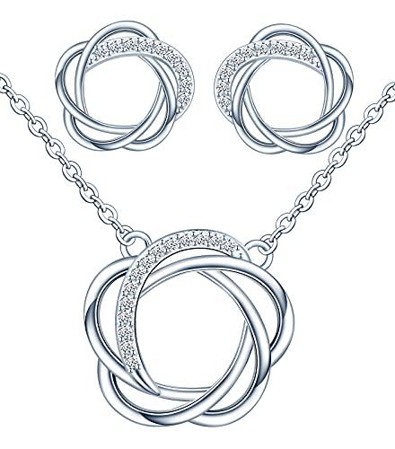 Yumilok Juego de joyas para mujer con pendientes y collar de plata de ley 925 con circonitas blancas, hipoalergénicas, diseño de flores