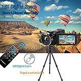 Videokamera Camcorder 2.7K 42MP Videokamera 18X Zoom Camcorder Full HD mit Drehbarem 3,0-Zoll-Bildschirm Videokamera für YouTube Fernbedienung, Webcam - 3
