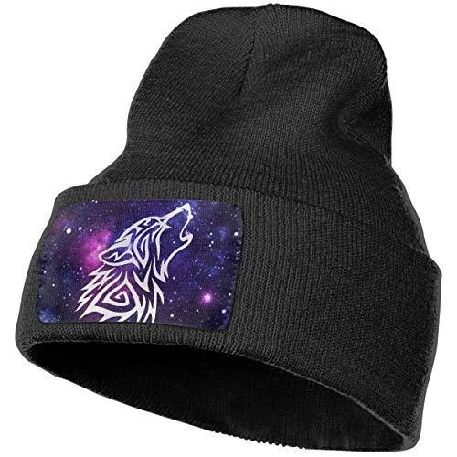Voxpkrs Soft Knit Beanie Hat Tribal Wolf Classic Skull Cap Sports Fan Watch Cap Black Cool 33137