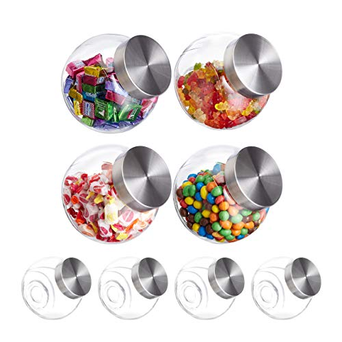 8 x Bonbonglas, 1,5 l, Vorratsgläser für Süßigkeiten, Lebensmittel, Candy Bar, Bonboniere, Edelstahl-Deckel, klar