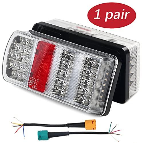 Hawkeye Paire de feux de remorque arrière,Feu LED Remorque,6 fonctions à LED Lamp Square pour Truck Van(rouge, Rectangle)
