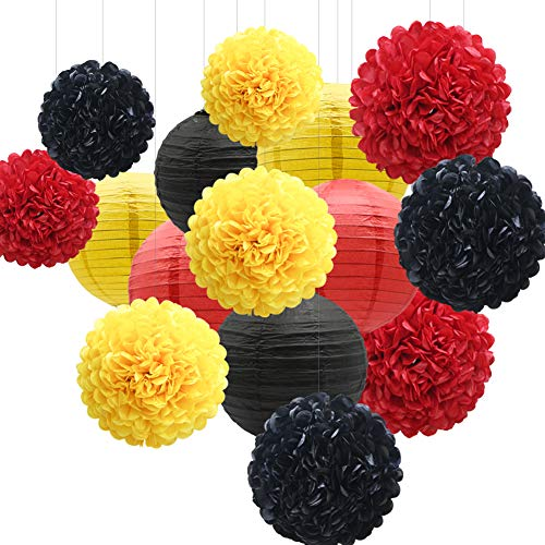15pcs Hanging Party Decorations Set, Yellow Red Black Paper Flowers Pom Poms Balls and Paper Lanterns for Mickey Theme Birthday Firetruck Baby Shower Graduatio