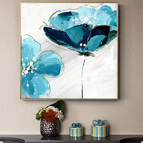 ZXFMT Ölgemälde auf Leinwand, Blumenmotiv, groß, Hellblau, abstrakte Blumen Bilder für Wohnzimmer, Wandposter und Drucke 40x40cm Unframed