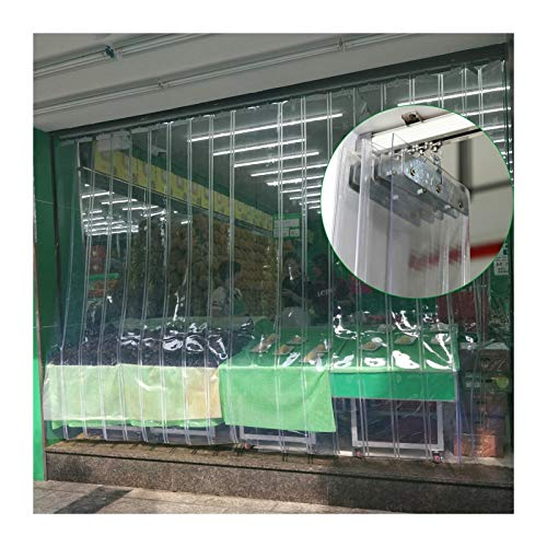 Cortina De Tira Plegable, Puerta De Tira De Vinilo Transparente Pantalla Con Riel Colgante De Aleación De Aluminio Para Congelador, Almacenamiento En Frio, Almacén ( Color : Claro , Size : 1.2