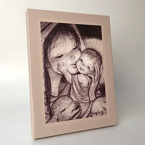 Cuadro Virgen mimitos 30x40cm. Ilustración de Juan Ferrándiz impresa en lienzo. Serie limitada y numerada. Regalo Comunión y Bautizo