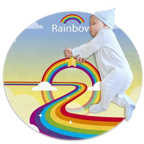 Colorido patrón de arco iris redondo juego de bebé alfombra de gatear colchoneta para dormir cojín sentado antideslizante para niños niños niños niños dormitorio para bebé niñas sala de estar cama