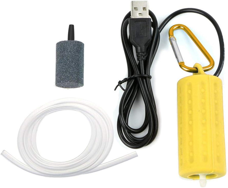 Aquarium Air Pump, USB Portable Fish Air Pump Aquarium Circulation Pump Mute Energy Save Compressor, Quietest High Energy Saving Oxygen Pump,Yellow,2pcs