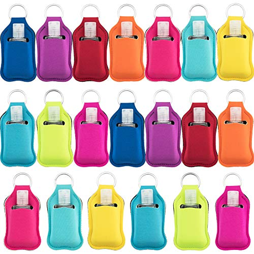 SUBANG 40 Pieces Empty Travel Size Bottle and Keychain Holders Set Include 20 Pieces 30 ML Flip Cap Containers Reusable Travel Bottles, 20 Pieces Keychain Bottle Holders,Multicolor Style