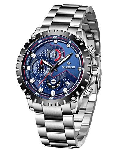 WISHDOIT Herren Uhren Militär Sport Wasserdicht Chronograph Silber Edelstahl Armbanduhr Männer Schwarz Herrenuhr Markenuhren Analog Quarzuhr