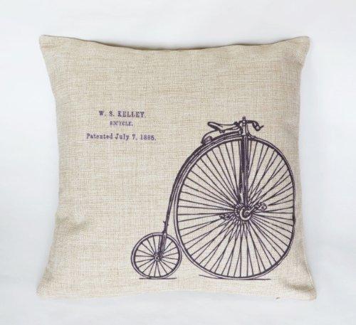 レトロ で お洒落 な クッション (45×45㎝ カバー, 自転車)