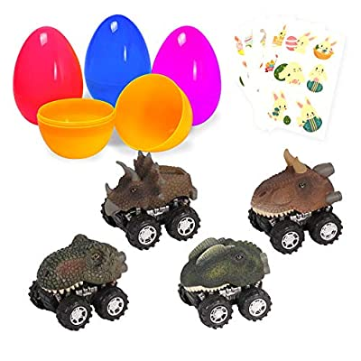 Large Surprise Eggs Filled 4 Pack Easter Eggs with Pull Back Dinosaur Cars Inside, Colorful Pre Plastic Easter Eggs For Kids Easter Gifts Easter Basket Stuffers Fillers with Stickers