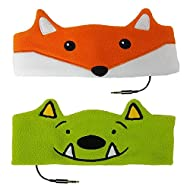 CozyPhones Kids Headphones Twin-Pack – (2PCS) Monster & Fox Combo - Perfect Children's Volume Limited Earphones for Home and Travel – Value Pack