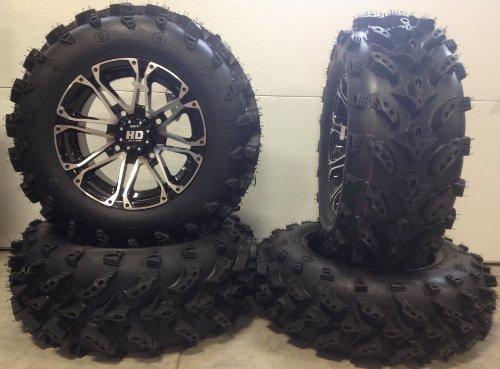 Bundle - 9 Items: STI HD3 14' Wheels Machined 27' Swamp Lite Tires [4x137 Bolt Pattern 10mmx1.25 Lug Kit]