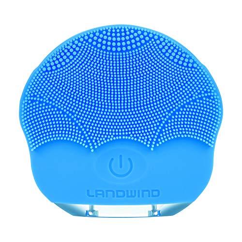 洗顔ブラシ シリコン製 超音波美顔器 洗顔 メンズ 毛穴ケア ボディブラシ 毛穴 洗顔 フェイスブラシ IPX7防水 4つの調節モード 3分間のスマート・タイミング(ブルー)
